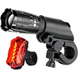 Bicycle Light Set - Front and Rear Mountain Bike Lights Waterproof LED Headlight 5 LED Taillight, Bright Cycling Safety Flashlight, Quick-Release