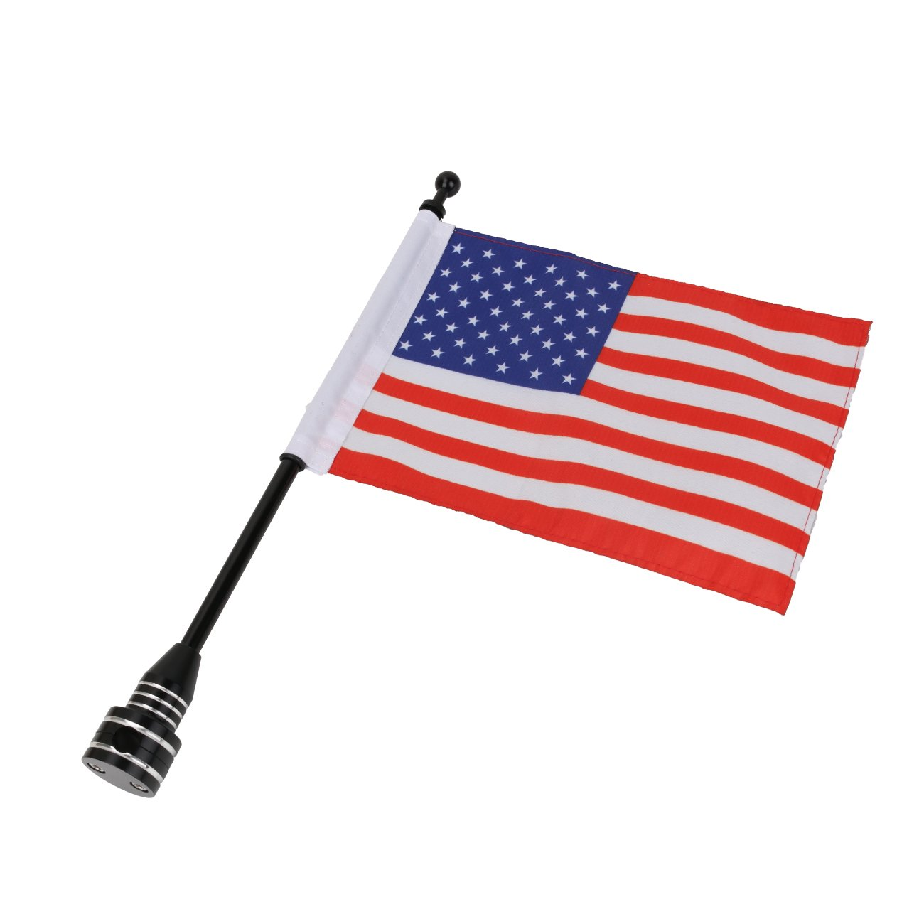 Black Kitty Party For Honda Harley Kawasaki Suzuki Yamaha Luggage Rack Rear Side Mount Flag Pole with American USA Flag