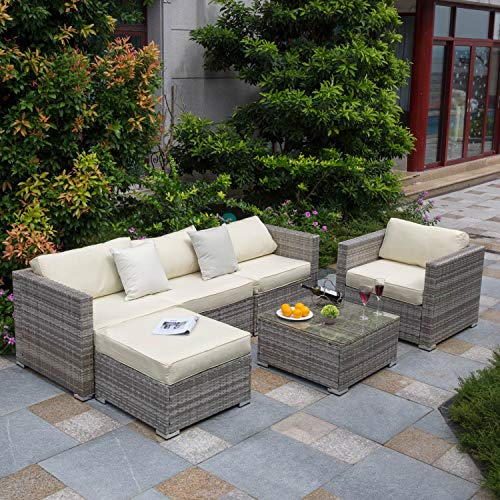 Tribesigns 6 PCS Outdoor Furniture Sectional Sofa Set, Large Wicker Patio Furniture Conversation Set Rattan Couch with Waterproof Cushions, Backyard Porch Garden Poolside Balcony Furniture(Beige)