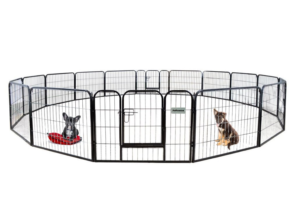 PetPremium Dog Pen Metal Fence Gate Portable Outdoor RV Play Yard Heavy Duty Outside Pet Large Playpen Exercise Indoor Puppy Kennel Cage Crate Enclosures 24 Height 16 Panel