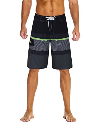 8311846b44 Nonwe Men's Sportwear Quick Dry Board Shorts with Lining Black&Gray 28