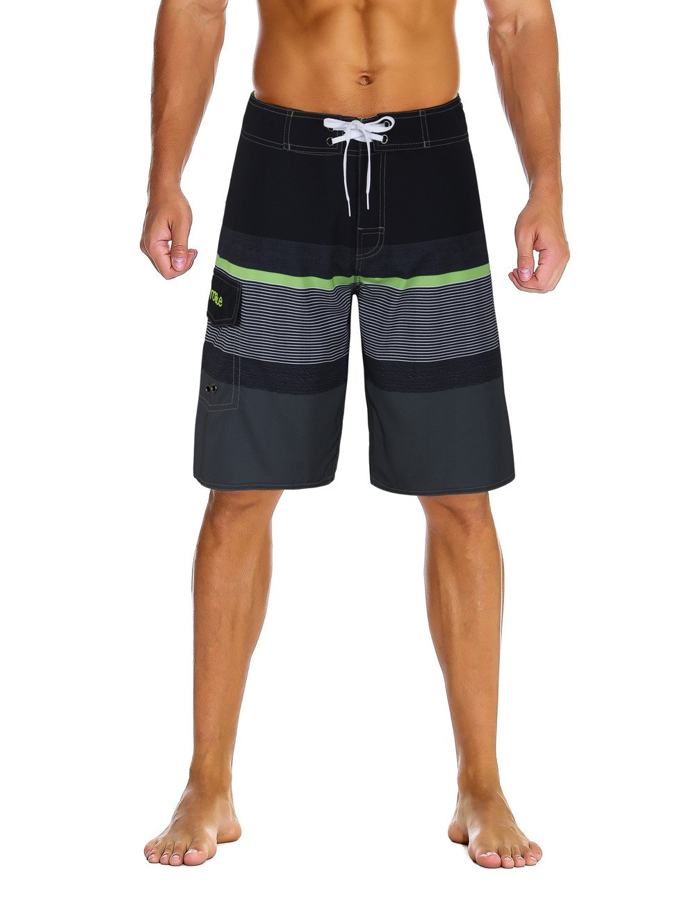 Nonwe Men's Sportwear Quick Dry Board Shorts with Lining Black&Gray 34