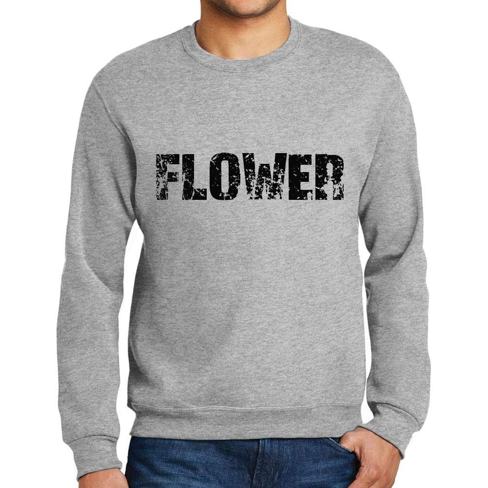 Ultrabasic Men/'s Printed Graphic Sweatshirt Popular Words Flower Grey Marl