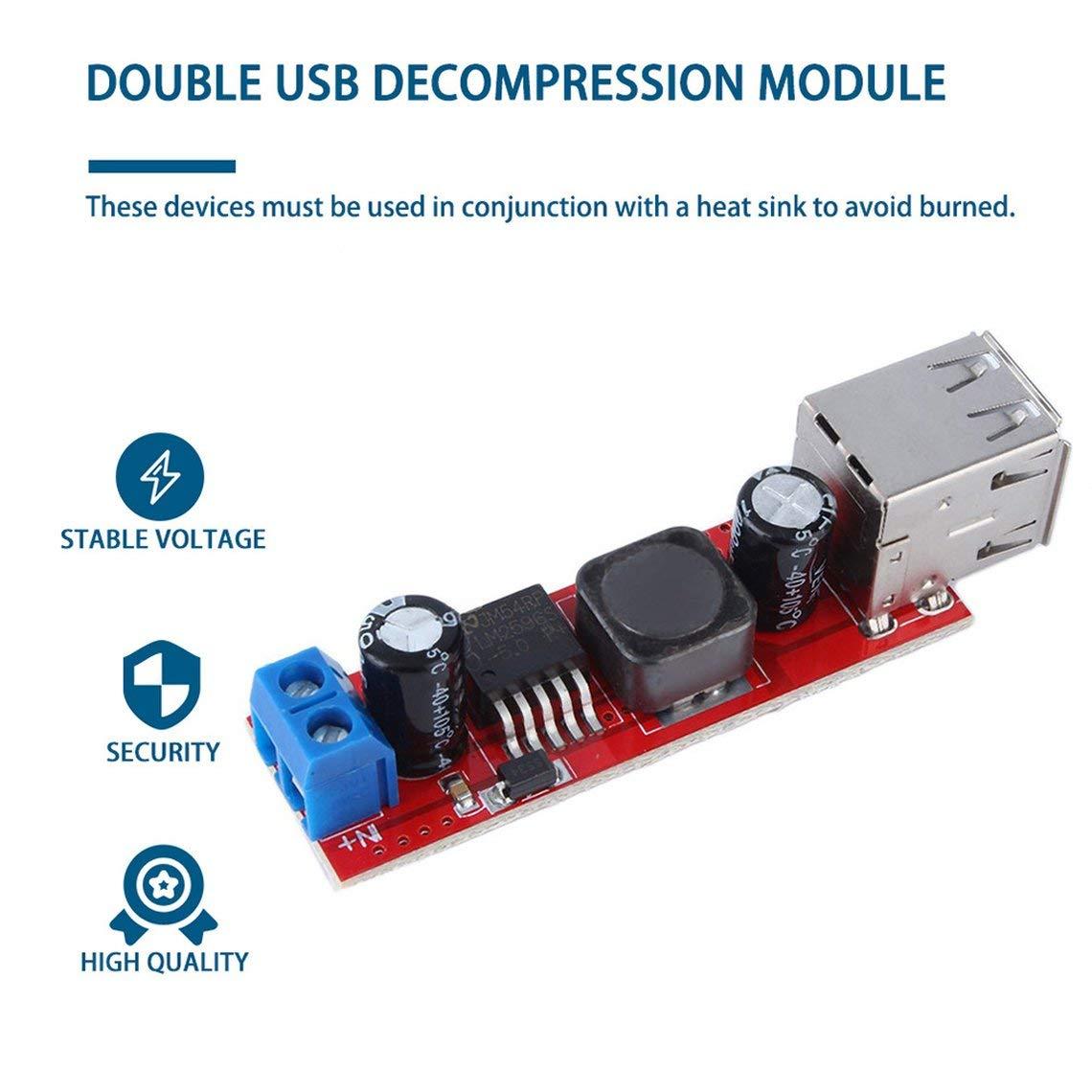 Zinniaya DC 6V-40V /à 5V 3A 150KHZ Fr/équence Double Charge USB Module de convertisseur abaisseur DC-DC Module abaisseur