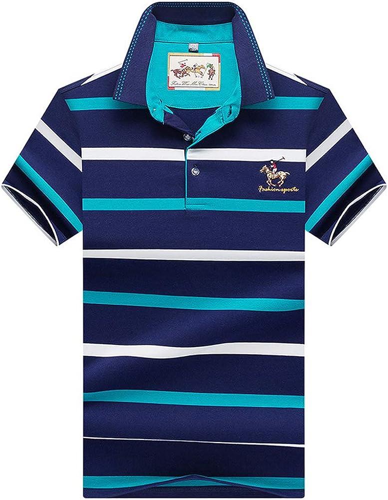 Polo Hombre Manga Corta Camiseta Casual 100% Puro Algodón (Rayas Blancas y Azules): Amazon.es: Ropa y accesorios