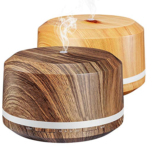 2 Pack 450ml Essential Oil Diffuser, BAXIA TECHNOLOGY Aromatherapy Diffusers for Essential Oils Ultrasonic Humidifiers with Timer, 17 LED Color Lights, Waterless Auto Shut-off (Dark/Light Wood Grain) ()