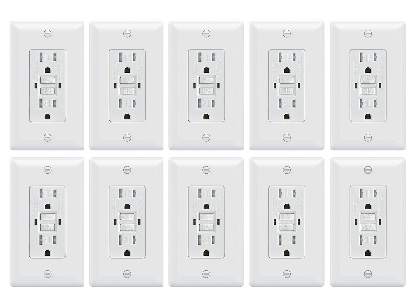 15 Amp UL2015 Certified Paladin 15A Tamper Resistant GFCI GFI Receptacle Outlet w//Wallplate /& LED Indicator 50 Pack 125V Self Testing White