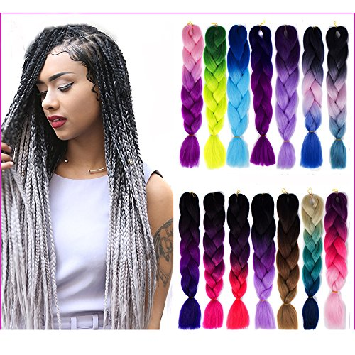 alayampme 24� 3piece jumbo braid extension synthetic ombre