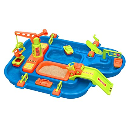 9e7a386de89 BS Water Play Set for Kids Outside Sand Table Flatbed Truck Boat Wave Maker  Bridges Gates