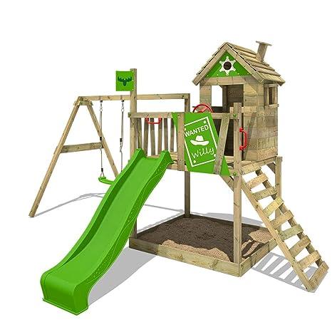 FATMOOSE RockyRanch Rollo de torre de escalada XXL Playhouse Treehouse con columpio, caja de arena