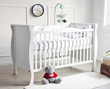 mcc solid wooden baby cot bed savannah city sleigh cotbed toddler bed u0026 premier water repellent