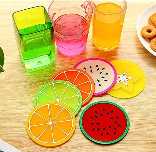 KaLaiXing brand Insulation pads. Silicone Fruit Slices Pattern Coaster Glass Cup Mat Drink Placemat Non Slip. Diameter: 9cm--6 pcs ()