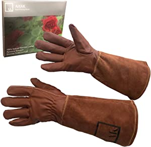 ArtAK Rose Pruning Gloves, Leather Rose Gardening Gloves Thorn Proof Long Sleeve for Women and Men Rose Gloves for Rose Bushes Ready to Plant Cowhide Suede Gauntlet Brown Small Garden Gloves