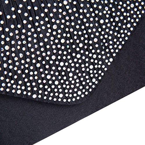 Pochette busta con sera chiusura strass Nero con da satinato a nero effetto qTCqBr