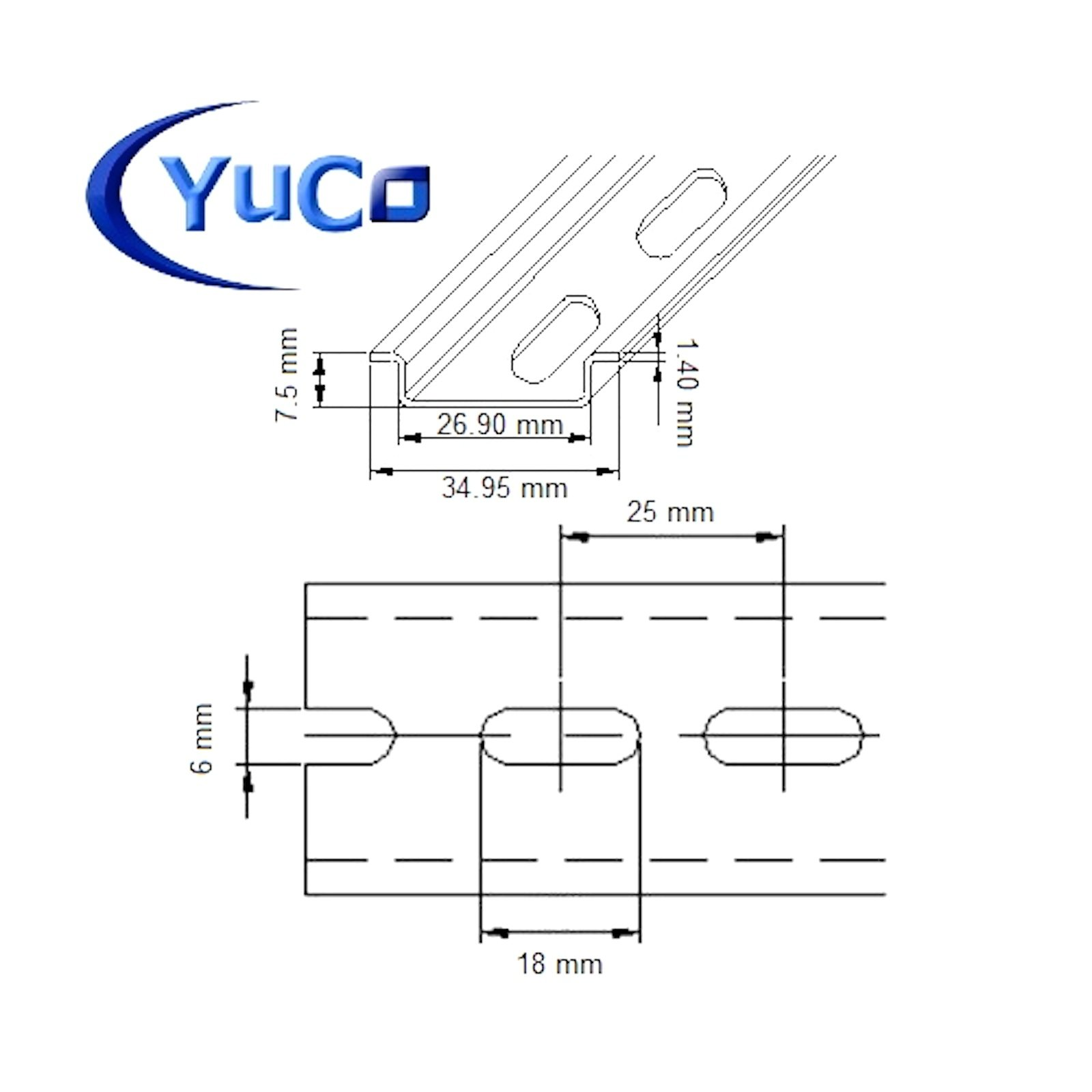 40pcs YC-DR-2m YuCo FACTORY CUT 2m STEEL SLOTTED DIN RAIL 35mm X 7.5mm PR005 ASI RoHS