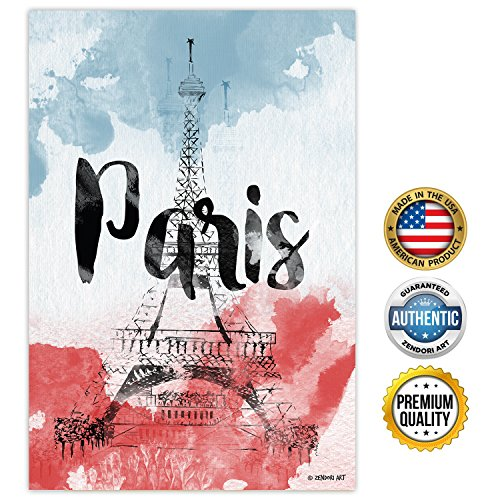 Zendori Poster Paris Wall Art   Made In Usa  Poster On Canvas Paper  12  X 18