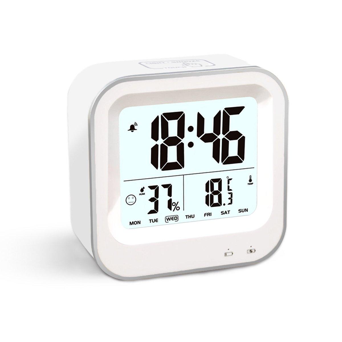 温度湿度計置き時計 USB充電式(白)