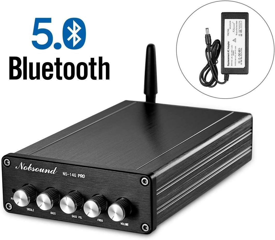 Nobsound NS-14G PRO - Amplificador de potencia (Bluetooth 5.0, HiFi, estéreo, 200 W, 2.1 canales, subwoofer, audio, control de graves, sonido para el hogar, con fuente de alimentación)