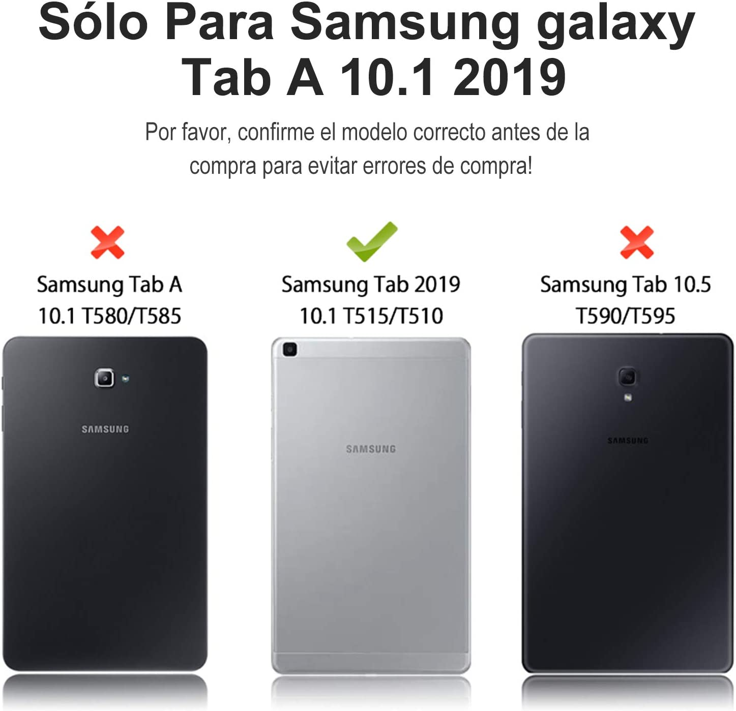SENGBIRCH Teclado con Funda para Samsung Galaxy Tab A 2019 10.1 Tablet, Diseño de Español Teclado Bluetooth con Auto Despertar/Dormir con Inteligente ...