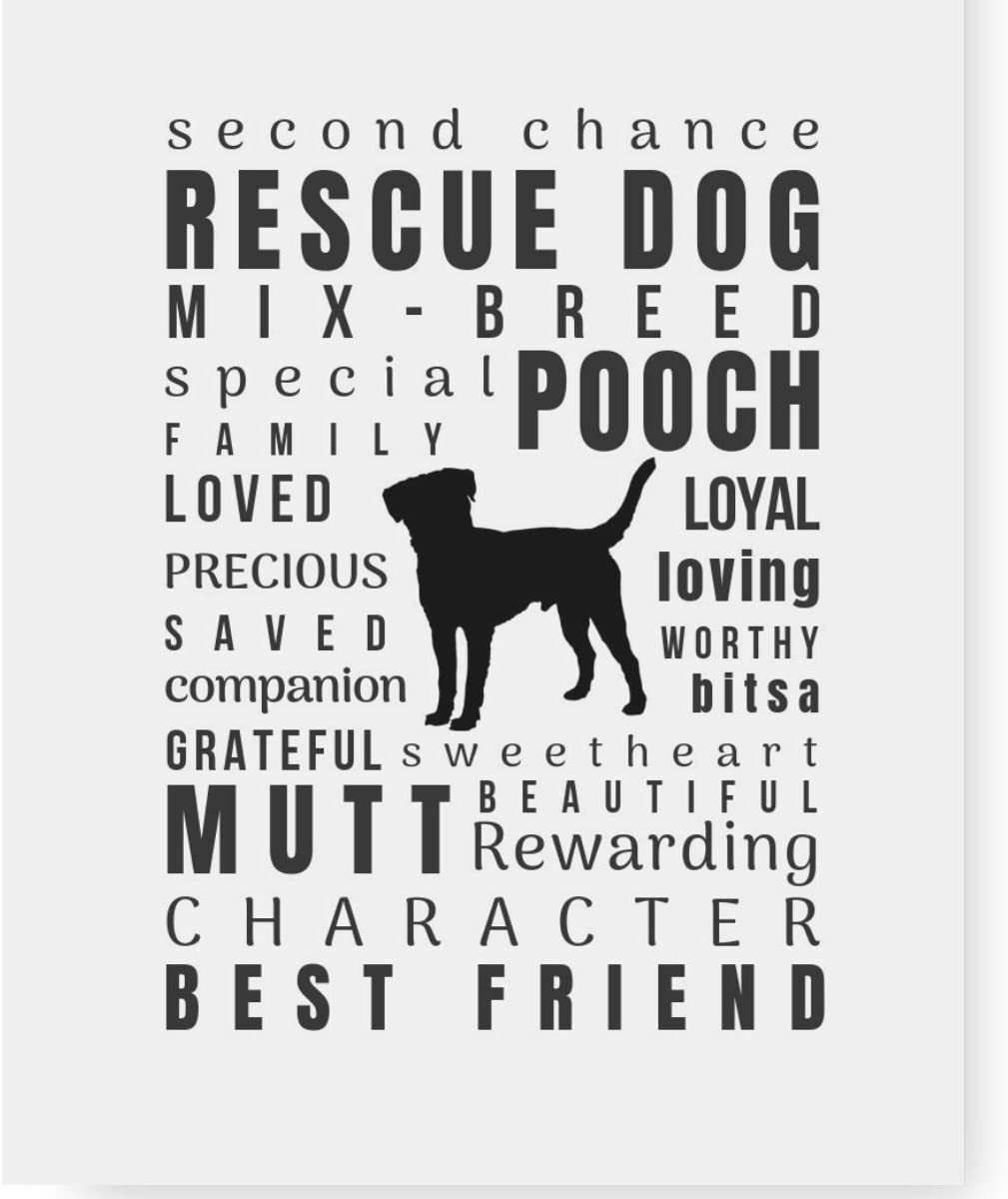 Dog Lover Gifts Art Quote Print 'Pet Personality' Home Decor - Various Breeds Unframed (8.5x11, Rescue Dog)