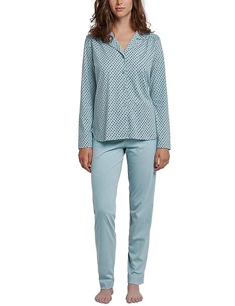 1e4a0c42aa8933 Schiesser Pyjama Lang Pigiama, Verde (Jade 713), 44 (Taglia Produttore: