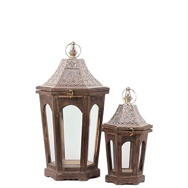 Urban Trends 94612-UT Decorative Wooden Lantern (Set of 2), Brown Antique Finish