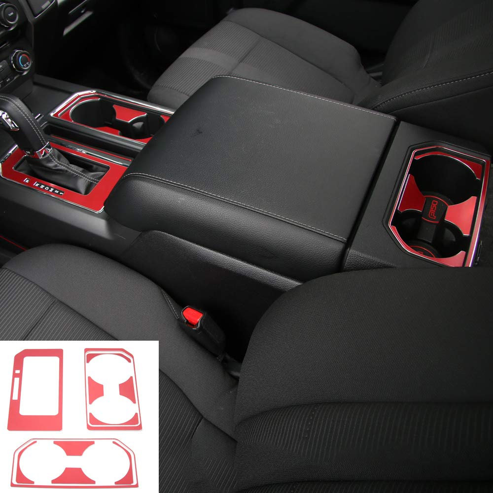 Voodonala Red Cab Gear Shift /& Cup Holder Trim Sheet Kit Interior Accessories Frame for Ford F150 2016 2017