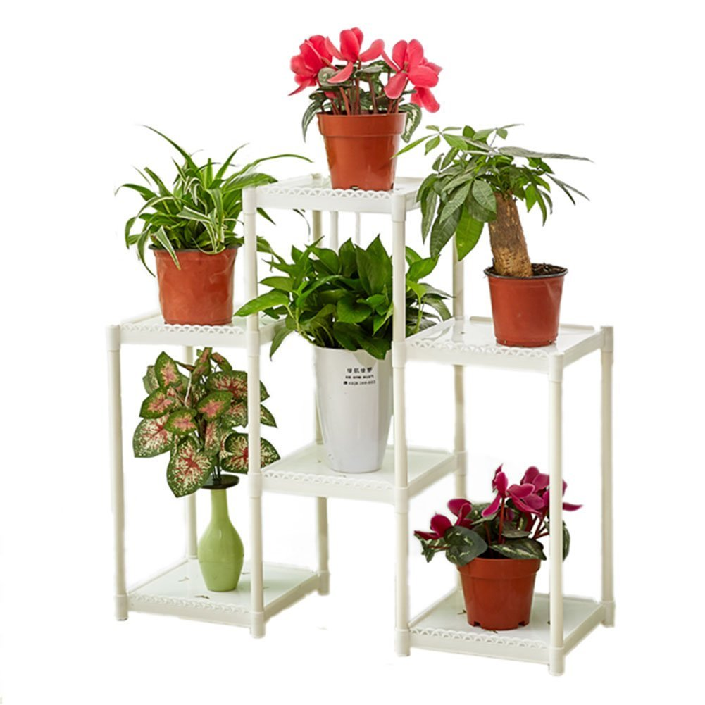 CSQ White Flower Stand, Creative 6 Tables Plant Stand Floor Shelf Living Room Bedroom Balcony Flower Pot Ornaments (Color : White) by Flowers and friends