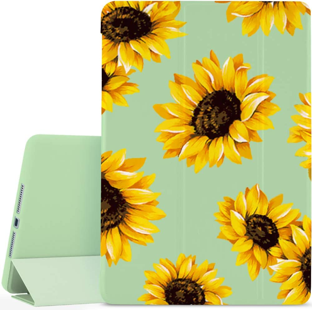 JOYLAND Flower Floral Pad Case Cover for iPad Air 2 Green Case Lovely Sunflowers Anti-Scratch Shockproof Lightweight Smart Trifold Stand Cover Soft TPU Cover for iPad Air 2