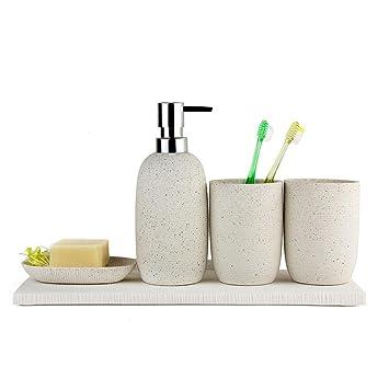 Set de accesorios de baño 4 piezas jabonera dispensador de vaso porta cepillo de dientes , beige: Amazon.es: Hogar