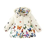 Loveble Winter Infant Baby Girls Butterfly Print Cotton Coat Parka Down Snowsuit Jacket Outerwear For 0-4 Years