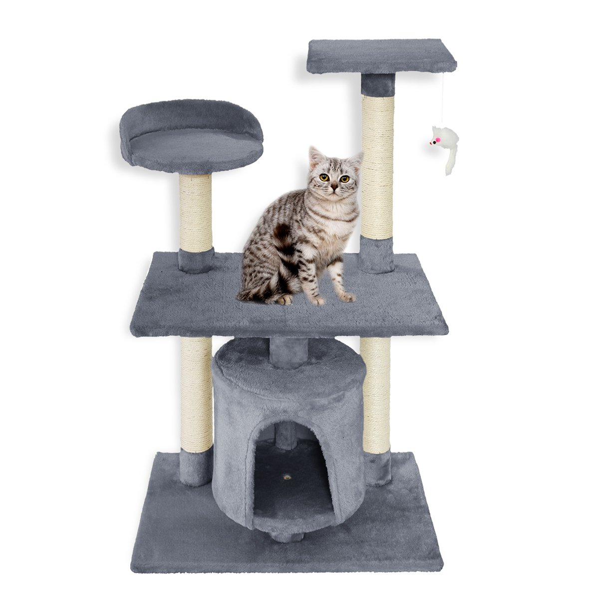 FirstWell Cat Tree Kitty Condo Furniture Kitten Climb Stand with Natural Sisal Ropes Scratching Post House Hanging Toy, 37.5 Inches, Grey, PCT002
