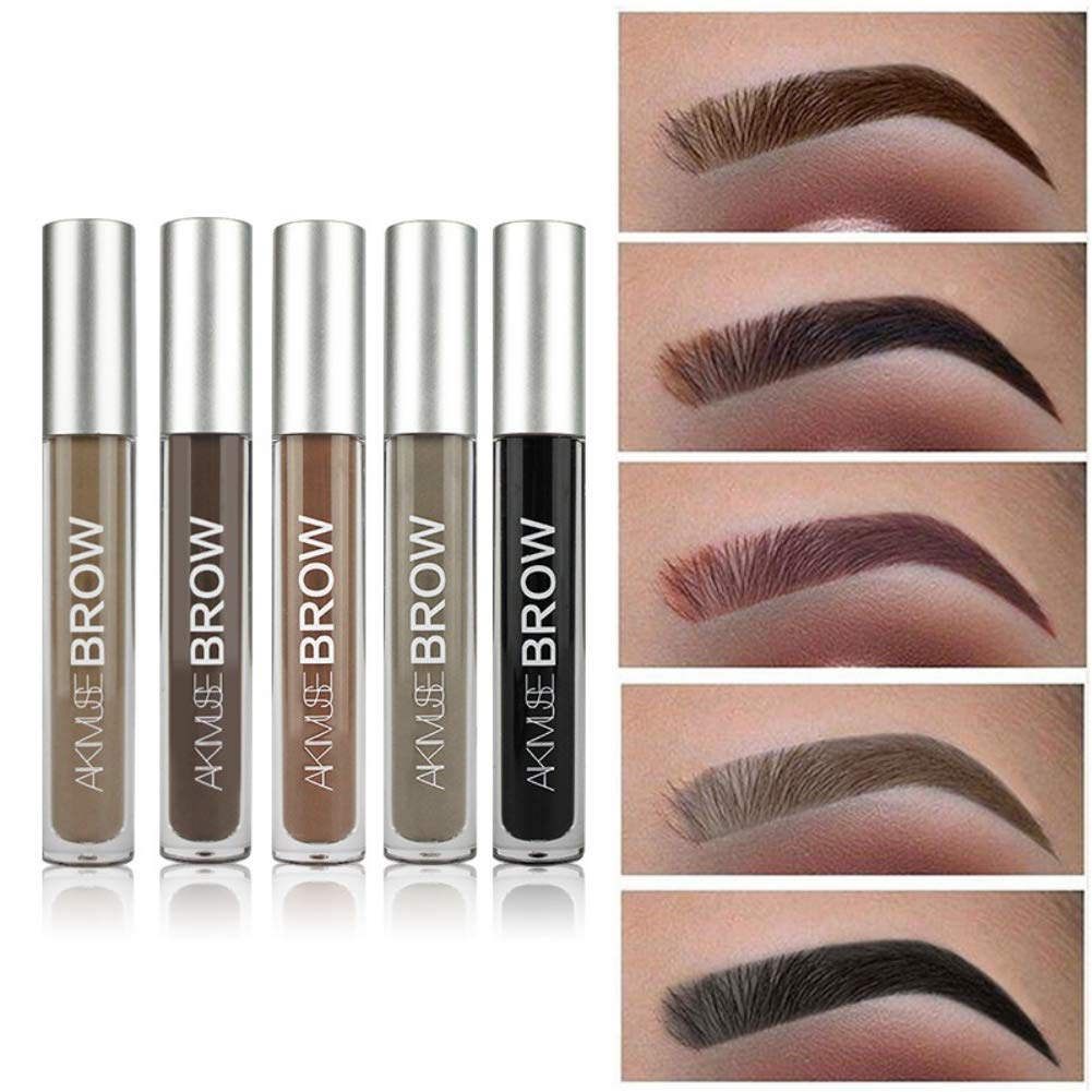 Eyebrow Gel 5 Colors Liquid Eyebrow Gel Waterproof Black Brown Tinted Eyebrow Dye Cream with Brush Sweetds
