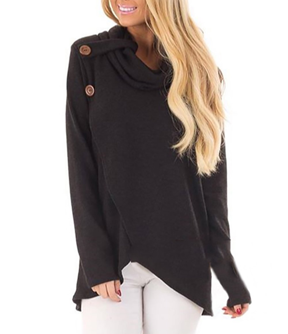 PRETTYGARDEN Women's Raglan Cowl Neck Long Sleeve Front Split Button Irregular Casual Pullover Tops Sweatshirts Tunic (Black, X-Large)