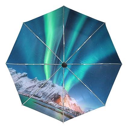 cb1753da021b Amazon.com : Automatic Umbrella Galaxy Northern Lights Windproof ...