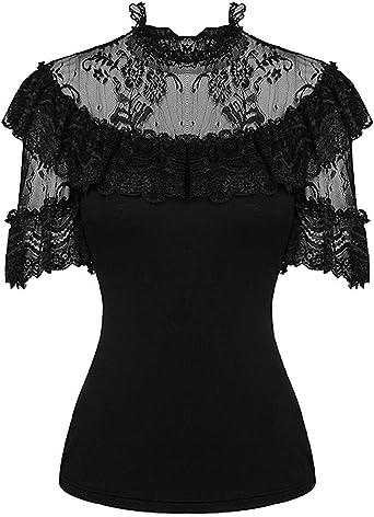 Dark in love - Camisas - Camisa - Floral - Redondo - Manga Corta - para Mujer Negro Negro (S/M-Mujers Talla 36-38: Amazon.es: Ropa y accesorios