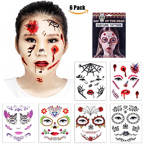 Zombie Face Tattoo (Halloween Temporary Face Tattoos - Skull Scar Spider Blood Bat Rose Floral Fake Tattoos Sticker for Women Men Kids Boys With 6 Realistic Full Face Tattoo Mask Waterproof)