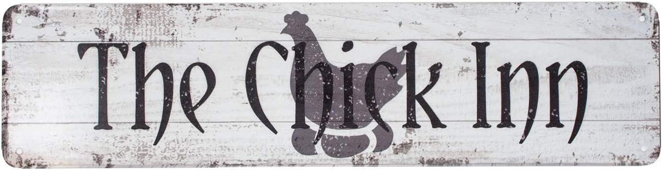 Yishobo The Chick Inn Metal/Tin Sign Chicken Coop Decor Rustic Rooster/Hen House Decoration Primitive Country Farmhouse Home Decor Wall Art Sign 15.7''x3.9'', (Chicken)