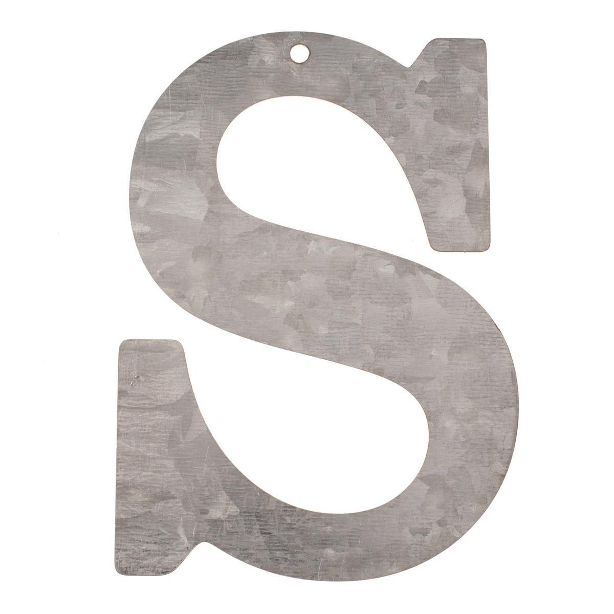 GLOREX Buchstabe verzinkt S Silber 18 x 16 x 0.5 cm Metall