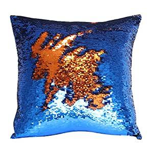 "Play Tailor Funda de cojín ""Mermaid"" con diseño de lentejuelas reversibles, 40x 40cm, Copper Red-Royal Blue, 40 x 40 cm"