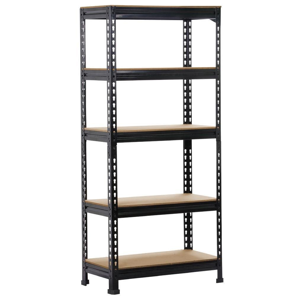Yaheetech Black Adjustable 5-Shelf Shelving Unit Storage Rack Utility Rack Garage Shelves Display Rack Steel Boltless Rivet Rack,59.1 inch Height (1-Pack)