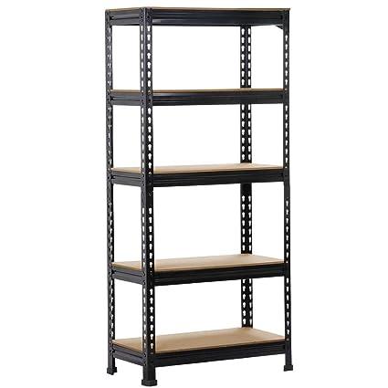 go2buy 5 tier storage rack heavy duty shelf steel shelving unit 27 by 12 by 591quot - Heavy Duty Bookshelves