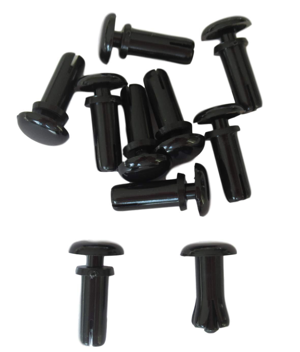Spreizniete 1mm bis 10mm Material 50x Schwarze Kunststoff-Nieten//Blindnieten f/ür Hand Montage 8mm Nietkopf 1,5 bis 2,5mm Materialst/ärke ausw/ählen