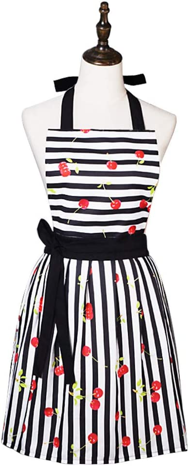 Lovely Comfortable Claccic Black Stripe and Fashion Cherry Skirt Kitchen Women Apron for Ladies Girls Wife Daughter (Black)