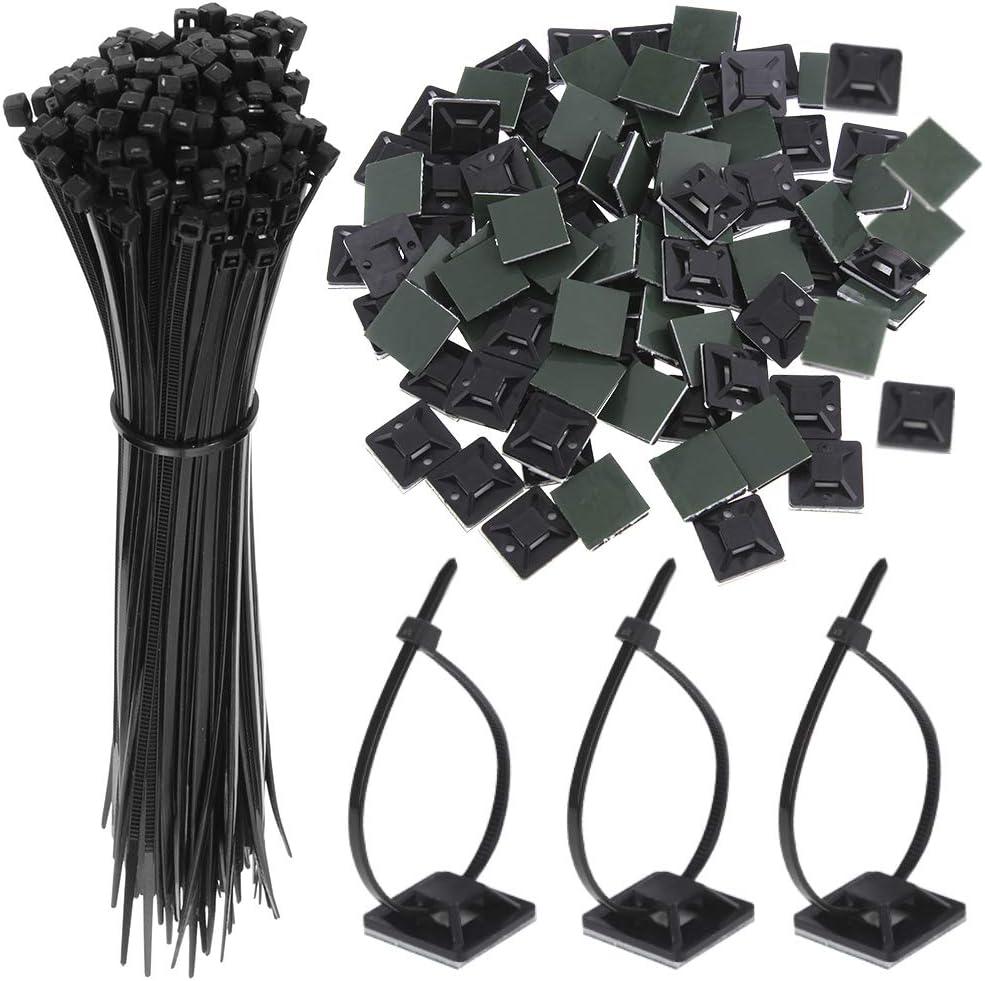 Fabur 200 Pcs Unidades abrazaderas plástico para Cableado | Soporte de Base de Atar Cable adecuado de negras electricista, Nylon Cables (Longitud 15cm, Anchura 2.5 cm)