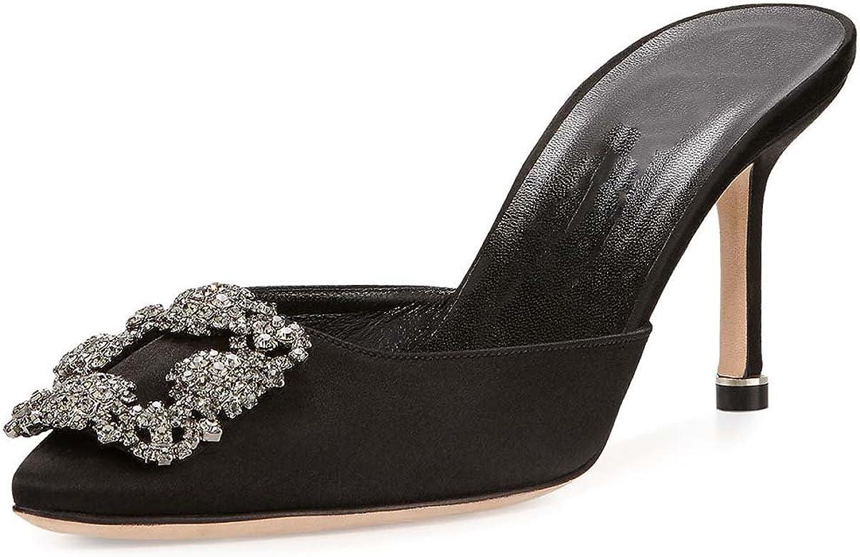 686e757e6 MAVIRS Women's Satin Pointy Toe Slide Sandals Rhinestones Kitten Heels Pumps  Jeweled Slingback Heeled Mules Shoes