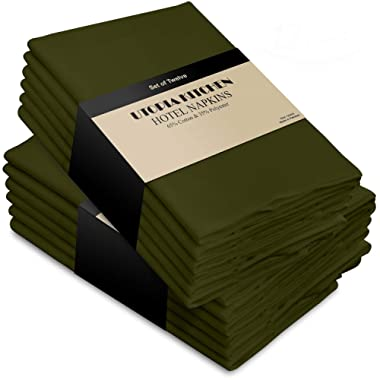 Utopia Kitchen Cotton Dinner Napkins 12 Pack (18 inches x 18 inches) - Soft and Comfortable - Durable Hotel Quality - Ideal for Events and Regular Home Use (Olive)