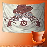 Nalahome Wall Hanging Tapestries Wall Art Tapestries Wall Tapestries Western Insignia and Banner with Two Guns Hat Pistols Poker Tapestry Dorm Decor Tapestry(80W x 59L INCH)
