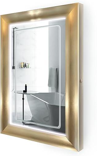 Krugg LED Lighted 24 Inch x 36 Inch Bathroom Gold Frame Mirror w Defogger