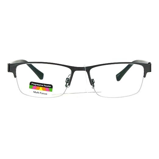382bf66b56 Mens Half Metal Rim Rectangular Multi 3 Power Focus Progressive Reading  Glasses